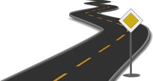 Vector illustration of road with main-road sign Royalty Free Stock Photo