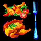 Vector illustration of roast chicken dinner baked roasted food. Vector illustration of roast chicken dinner baked roasted Stock Photos