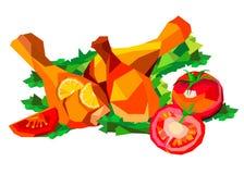 Vector illustration of roast chicken dinner baked roasted food. Vector illustration of roast chicken dinner baked roasted Stock Images