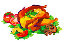 Vector illustration of roast chicken dinner baked roasted food. Vector illustration of roast chicken dinner baked roasted Stock Photo