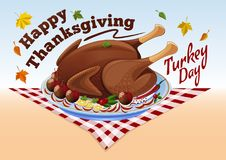 Thanksgiving roast turkey. Vector illustration of a roast turkey with apples and spices, checkered tablecloth and falling autumn leaves. Happy Thanksgiving Stock Image