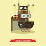 Vector illustration of robot coffee, flat design Stock Photo