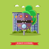Vector illustration of robot courier, flat design Royalty Free Stock Photos