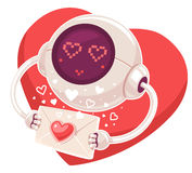 Vector illustration of robot with envelope and red heart  Stock Photo