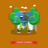 Vector illustration of robot guards, flat design Stock Photo