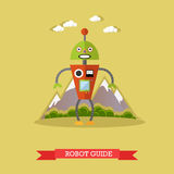 Vector illustration of robot guide, flat design. Vector illustration of robot guide. Technology concept design element, icon in flat style Stock Photos