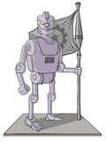 Vector illustration of robot holding a flag Stock Image
