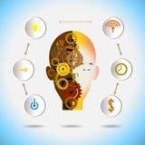 Vector illustration robot innovation and gear with icon concept. Vector illustration robot innovation and gear with icon on a blue background. Hi-tech digital royalty free illustration