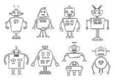Vector illustration of a Robot. Mechanical character design. Set of four different robots. Coloring book page.  royalty free illustration