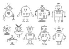 Vector illustration of a Robot. Mechanical character design. Set of four different robots. Coloring book page royalty free illustration