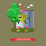 Vector illustration of robot model, flat design. Vector illustration of robot model. Technology concept design element, icon in flat style Stock Photo