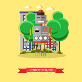 Vector illustration of robot police, flat design. Vector illustration of robot police. Technology concept design element, icon in flat style Royalty Free Stock Photo