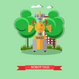 Vector illustration of robot taxi, flat design. Vector illustration of robot taxi. Technology concept design element, icon in flat style Stock Photos