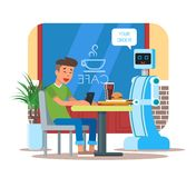 Vector illustration of robot waiter serving cola, hamburger to visitor Stock Photo