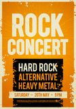 Vector illustration rock concert retro poster design template on old paper texture. Vector illustration orange rock concert retro poster design template on old Royalty Free Stock Photo