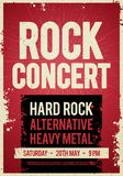 Vector illustration rock concert retro poster design template on old paper texture. Vector illustration rock concert festival retro poster design template on old Stock Photography