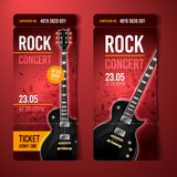 Vector illustration rock concert ticket design template with black guitar. And cool grunge effects in the background stock illustration