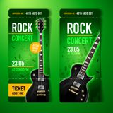 Vector illustration rock concert ticket design template with black guitar. And cool grunge effects in the background royalty free illustration