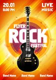 Vector illustration rock festival concert flyer or poster design template with guitar. Vector illustration rock festival concert party flyer or poster design Stock Photos