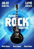 Vector illustration rock festival concert flyer or poster design template with guitar. Vector illustration rock festival concert party flyer or poster design Stock Image