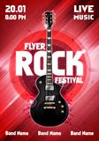 Vector illustration rock festival concert flyer or poster design template with guitar. Vector illustration rock festival concert party flyer or poster design Stock Images