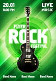 Vector illustration rock festival concert flyer or poster design template with guitar. Vector illustration rock festival concert party flyer or poster design Royalty Free Stock Images