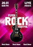 Vector illustration rock festival concert flyer or poster design template with guitar. Vector illustration rock festival concert party flyer or poster design Royalty Free Stock Photos
