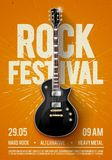 Vector illustration rock festival concert party flyer or poster design template with guitar, place for text and cool effects. Vector illustration orange rock Stock Photos