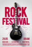 Vector illustration rock festival concert party flyer or posterdesign template with guitar, place for text and cool effects in the. Rock festival concert party Royalty Free Stock Image