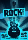 Vector illustration rock festival party flyer design template with guitar. Vector illustration blue rock festival party flyer design template with guitar vector illustration