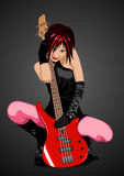 Vector illustration of rock girl with guitar Royalty Free Stock Photography