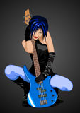 Vector illustration of rock girl with guitar Stock Photo