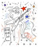 Man playing guitar. Doodle doodle sketch. royalty free illustration