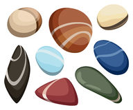 Vector Illustration Rock stone cartoon Set of different boulders Natural sea spa rock material game art Royalty Free Stock Photography