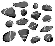 Vector Illustration Rock stone cartoon Set of different boulders Natural sea spa rock material game art Royalty Free Stock Photo