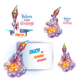 Vector illustration of rocket with paper Stock Photo