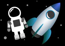 Vector illustration of rocket spaceship and astronaut in spacesuit levitating vector illustration