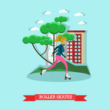 Vector illustration of roller skating girl in flat style Royalty Free Stock Photo