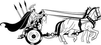 Roman Warrior in Chariot Illustration. A vector illustration of a Roman warrior in chariot vector illustration