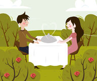 Vector illustration of romantic date of man and Stock Photos