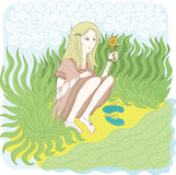 Vector illustration. Romantic girl with sunflower Royalty Free Stock Photos