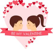 Vector illustration of a romantic people in love. Set of Valentine in love funny peoples icons Stock Photos