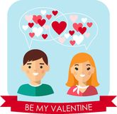 Vector illustration of a romantic people in love. Set of Valentine in love funny peoples icons Stock Photo