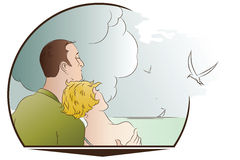Vector illustration. Romantic scene. Man and woman on the beach Stock Images