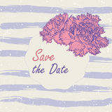 Vector illustration romantic template with pink carnation, lilac watercolor sripes. Save the date, bridal shower Royalty Free Stock Photo