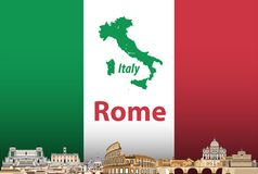 Vector illustration of Rome city skyline with flag and map of Italy on background stock illustration