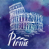 Vector illustration, Rome label with hand drawn Coliseum Stock Images