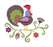 Vector illustration of rooster in folk art style Stock Photos
