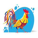 Vector illustration of rooster in modern stylized design. Royalty Free Stock Images