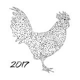 Vector illustration of a rooster in the star style.  silhouette on  white background  -  symbol  2017. Vector illustration of a rooster in the star style Royalty Free Stock Images